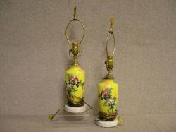 Pair of Chinese Export Porcelain Table Lamps with Silk Shades