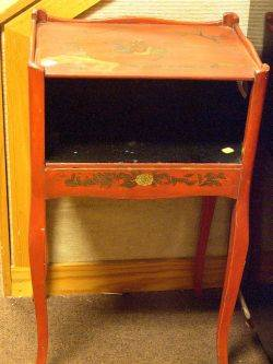 Brett Gray  Hartwell Chinoiserie Decorated Red Lacquer Nightstand