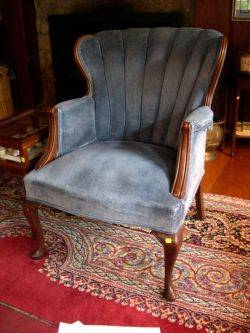 Queen Anne Style Upholstered Mahogany Armchair