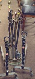 Pair of Wrought Iron Ropetwist Andirons a Brass Hearth Stand and Assorted Brass and Iron Tools