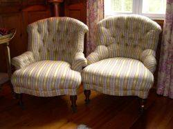 Pair of Victorian Brocade Upholstered Slipper Chairs