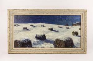 Henry Barnes Snowy Haystack Landscape Oil