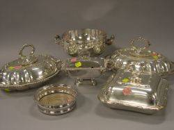 Silver Plated Wine Coaster Warming Bowl Three Covered Serving Dishes and a Covered Footed Sauce Tureen