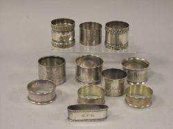 Eight Sterling Silver Napkin Rings and Three Silver Plated Napkin Rings