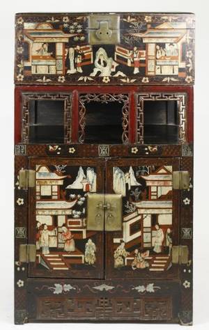 Chinese Export Lacquered Wedding Chest on Cabinet