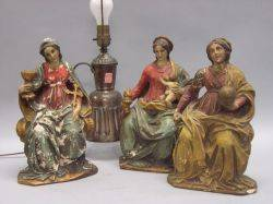 Three Painted Plaster Madonna Figures and a Near Eastern Copper Table Lamp
