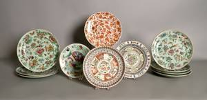 Eight Chinese export Celadon glaze plates together with three other export plates