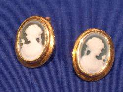 Pair of 14kt Gold and Green Cameo Earrings