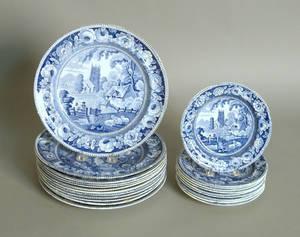 Twentytwo blue Staffordshire plates