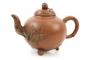 Red Acorn Motif Yixing Zisha Teapot Marked