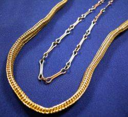 14kt Gold Necklace and Platinum and 14kt Gold Watch Chain
