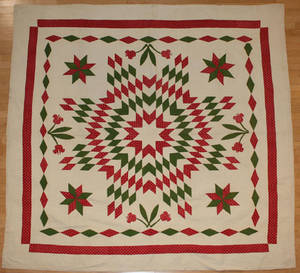 Pennsylvania red and green pieced and appliqu quilt ca 1880