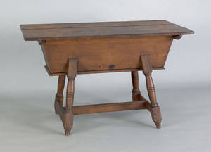 Pennsylvania pine and cherry dough box on stand ca 1800