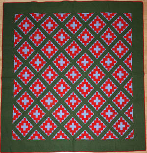 Pennsylvania red green and blue calico pieced quilt