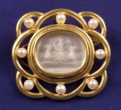 18kt Gold Cultured Pearl and Intaglio Brooch Elizabeth Locke