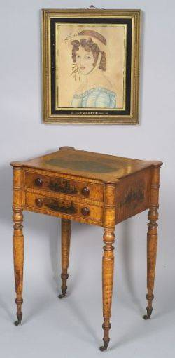Federal Academy Painted Tiger Maple Work Table together with a portrait Imogine
