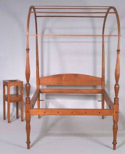 Federal Cherry Canopy Bed and Chamber Stand
