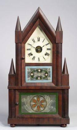 Gothic Mahogany Double Steeple Wagon Spring Shelf Clock
