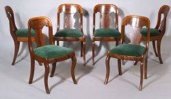 Set of Classical Mahogany Veneer Side Chairs