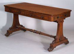 Classical Mahogany Carved and Mahogany Veneer Library Table