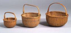 Three Round Nantucket Baskets