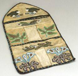 Northwest Coast Beaded Cloth and Hide Wall Pocket