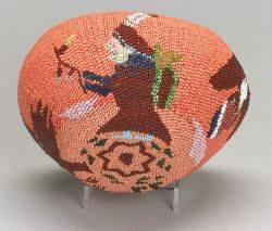 Southwest Pictorial Beaded Basketry Bowl