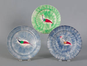 Two blue spatter plates 19th c