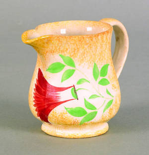 Yellow spatter creamer 19th c