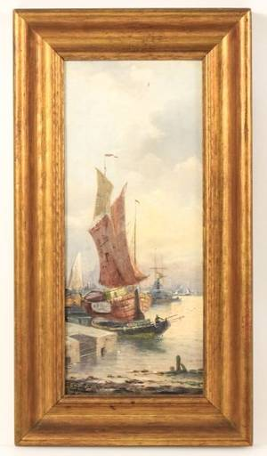 19th C American School Signed OC Boats in Harbor