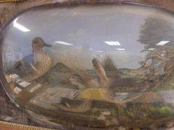 Victorian Carved Oak Framed Ornithological Duck Group in a Painted Landscape