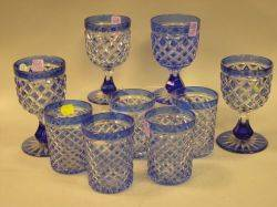 Set of Four Cobalt Blue CuttoClear Glass Goblets and a Set of Five Cobalt Blue CuttoClear Glass Tumblers