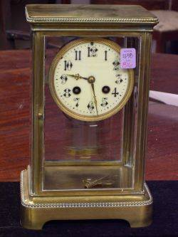 French Brass and Glass Mantel Clock with Mercury Pendulum
