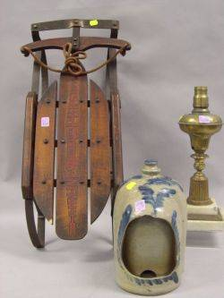 Cobalt Decorated Stoneware Bird Feeder a Brass and Marble Astral Lamp and a Small Paint Decorated Flexible Flyer Sled