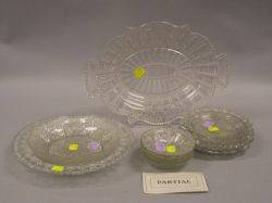 Sixtyseven Colorless Pattern Glass Plates Trays Bowls and Creamers