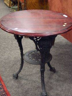 English Mahoganytop Cast Iron Pub Table