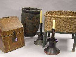 Painted Leather Fire Bucket a Pair of Painted Tin Candlesticks a Splint Basket on Painted Wood Stand and a French Gilt Tooled Leathe