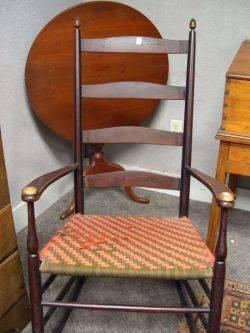 Shaker Maple Ladderback Armrocker with Woven Tape Seat