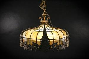 Early 20th C Slag Glass Chandelier