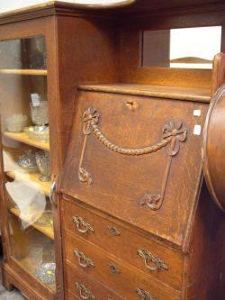 Late Victorian Oak Larkintype DeskBookcase