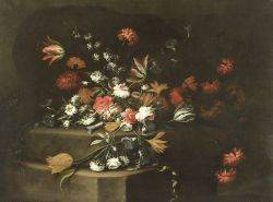 Italian School 17th18th Century Style Formal Floral Still Life With Tulips Carnations and Morning Glories