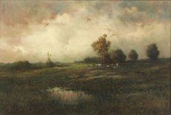 Paul R Koehler American 18751909 Country Landscape with Grazing Cattle