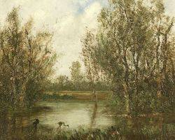 American School 19th Century Egrets on the Edge of a Quiet River