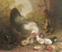 Mary Smith American 18421878 Feeding Her Chicks