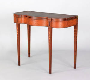 Exceptional and rare Philadelphia Federal satinwood veneered mahogany games table ca 1795