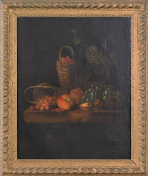 Pair of Continental oil on canvas still lifes late 18th c