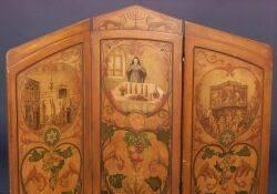Judaic Threepanel Polychrome Decorated Floor Screen