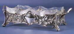 German Art Nouveau 800 Silver and Glass Centerpiece