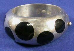 Sterling Silver and Enamel Bangle Bracelet