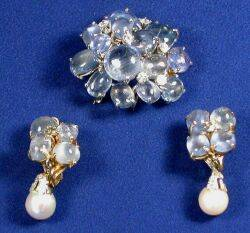 Sapphire and Diamond Brooch and Earclips